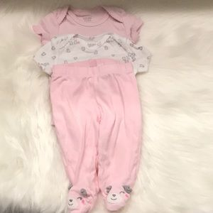Set of 2 baby's bodysuits and 1 footsie 3M Carters